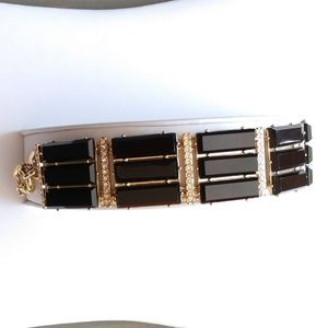 Black, gold and clear cz bracelet